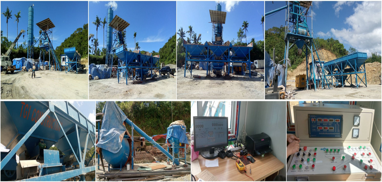 HZS35 concrete plant works in Palompon, Philippines