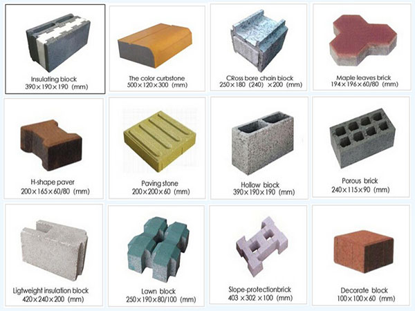 Different molds of brick machine