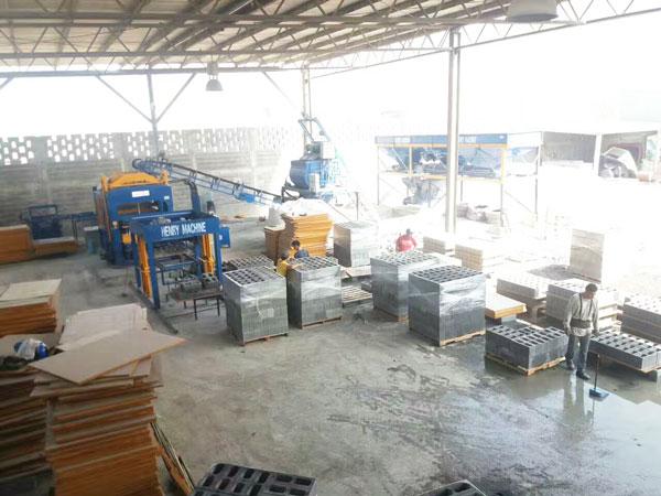 eco brick machine in construction site