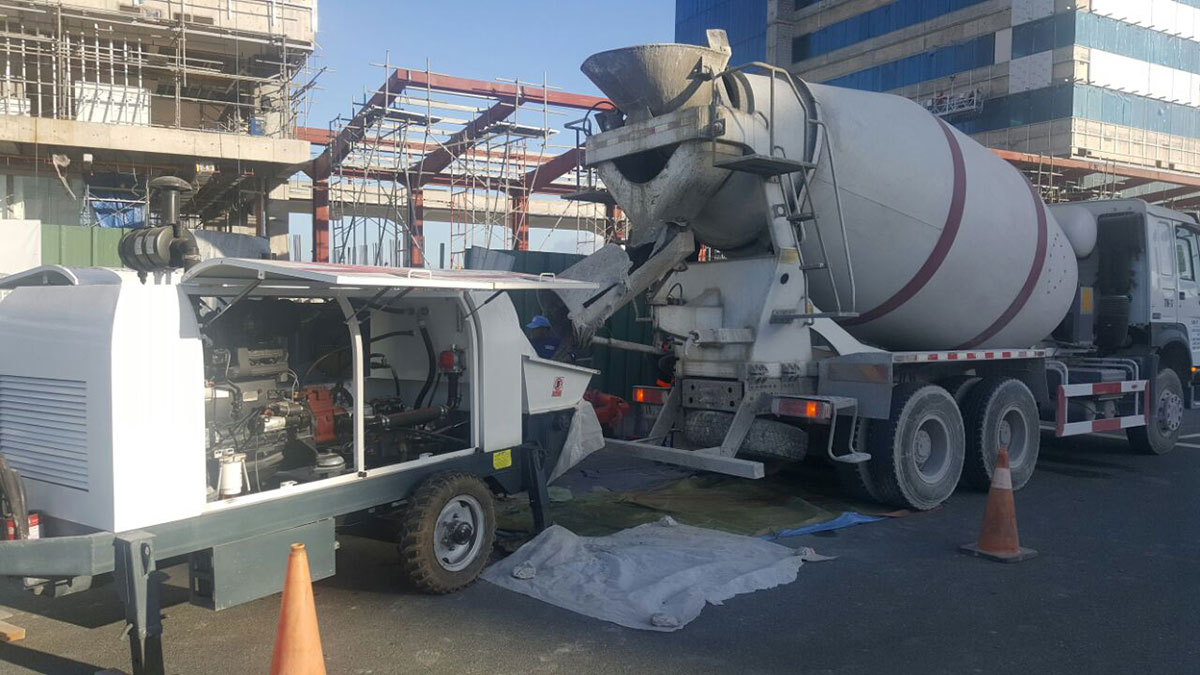 ABT60C trailer concrete pump working in Philippine
