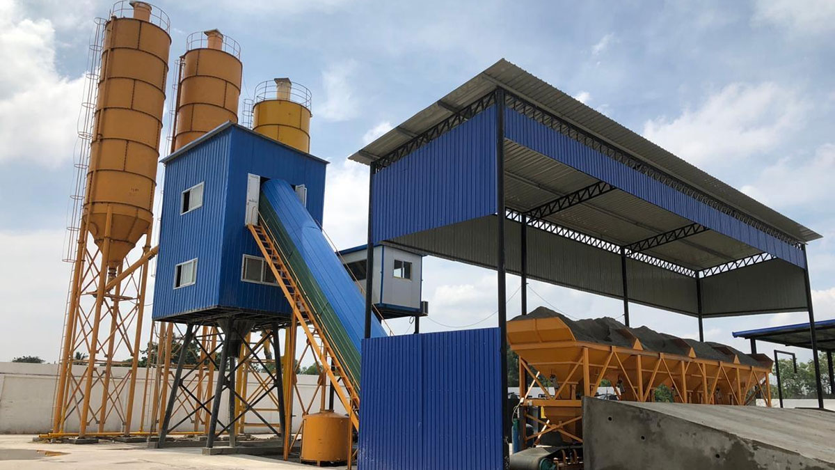 AJ60 bucket belt conveyor Concrete Batching plant in Srilanka
