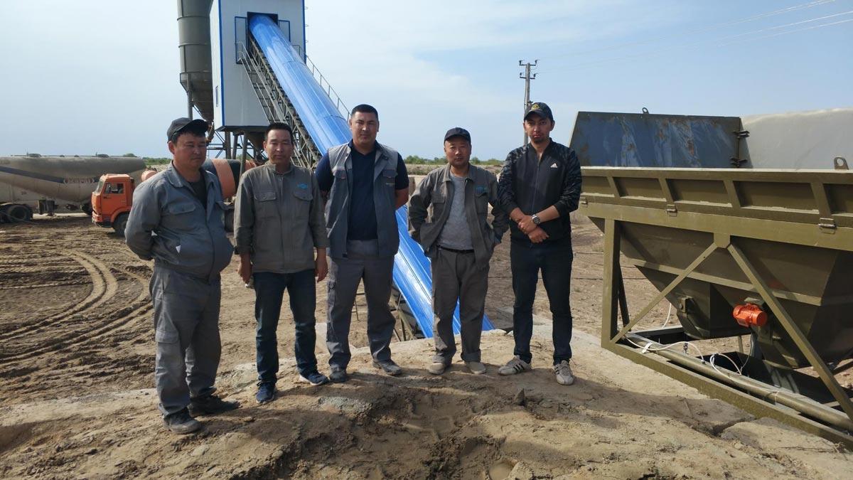 AJ90 Belt Conveyor type Batching Plant in Uzbekistan June 3. 2019