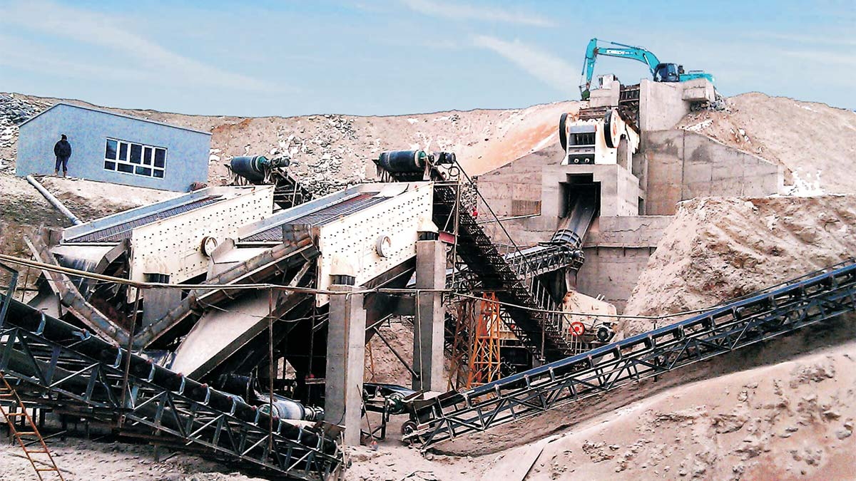 PE series Jaw crusher production line at construction site