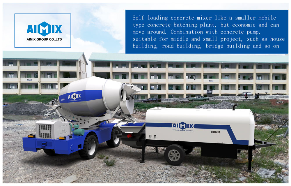 self-loading truck and concrete pump working together
