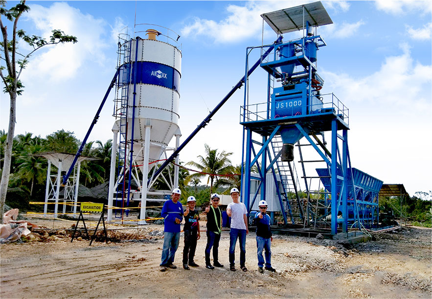 AJ-50 foundation-free batching plant in Surigao City, Philippines