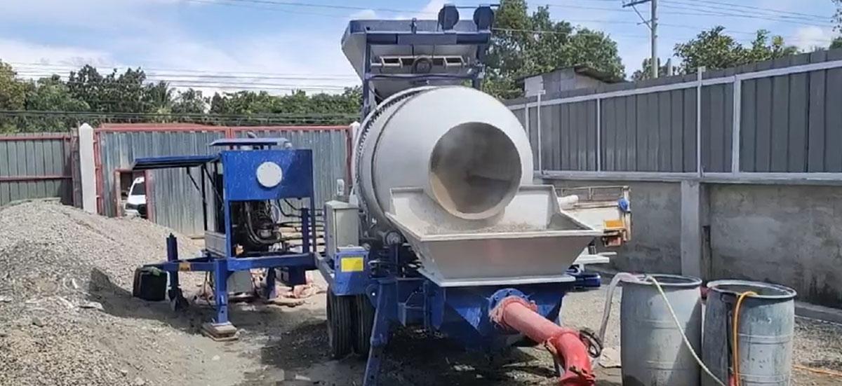 Concrete pump in construction site